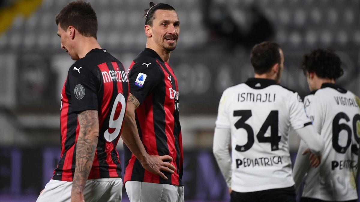 Ibrahimovic, Mandzukic - Spezia-Milan - Serie A 2020/2021 - Getty Images