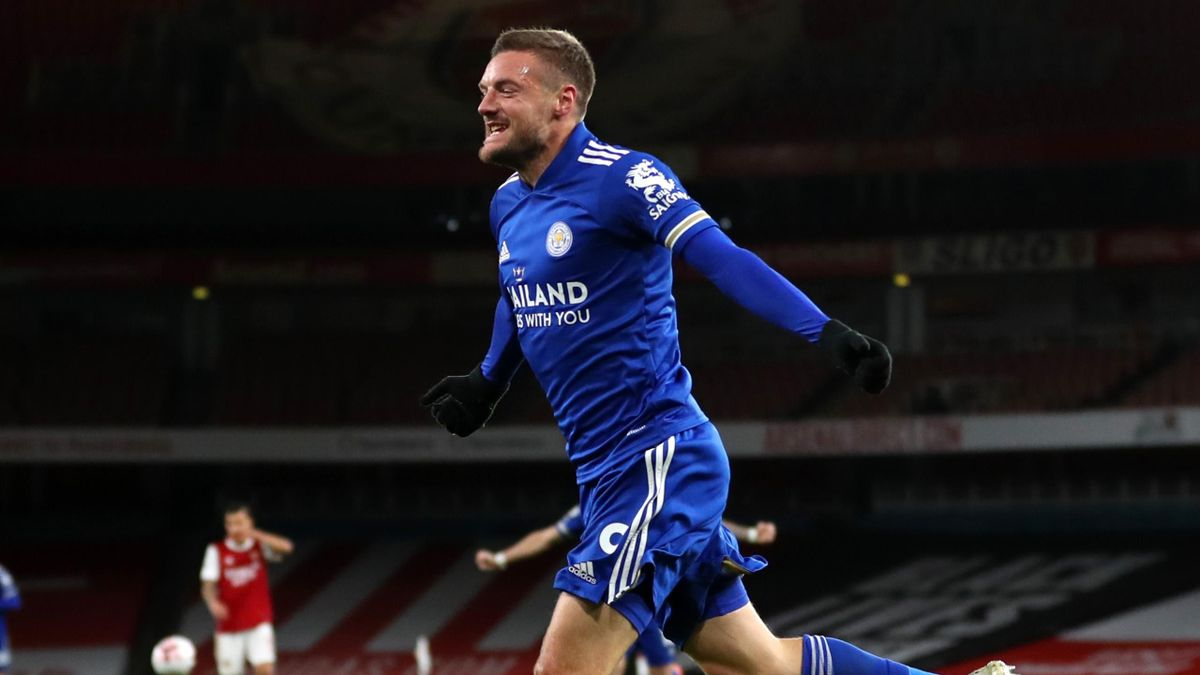 Leicester's Jamie Vardy celebrates scoring against Arsenal