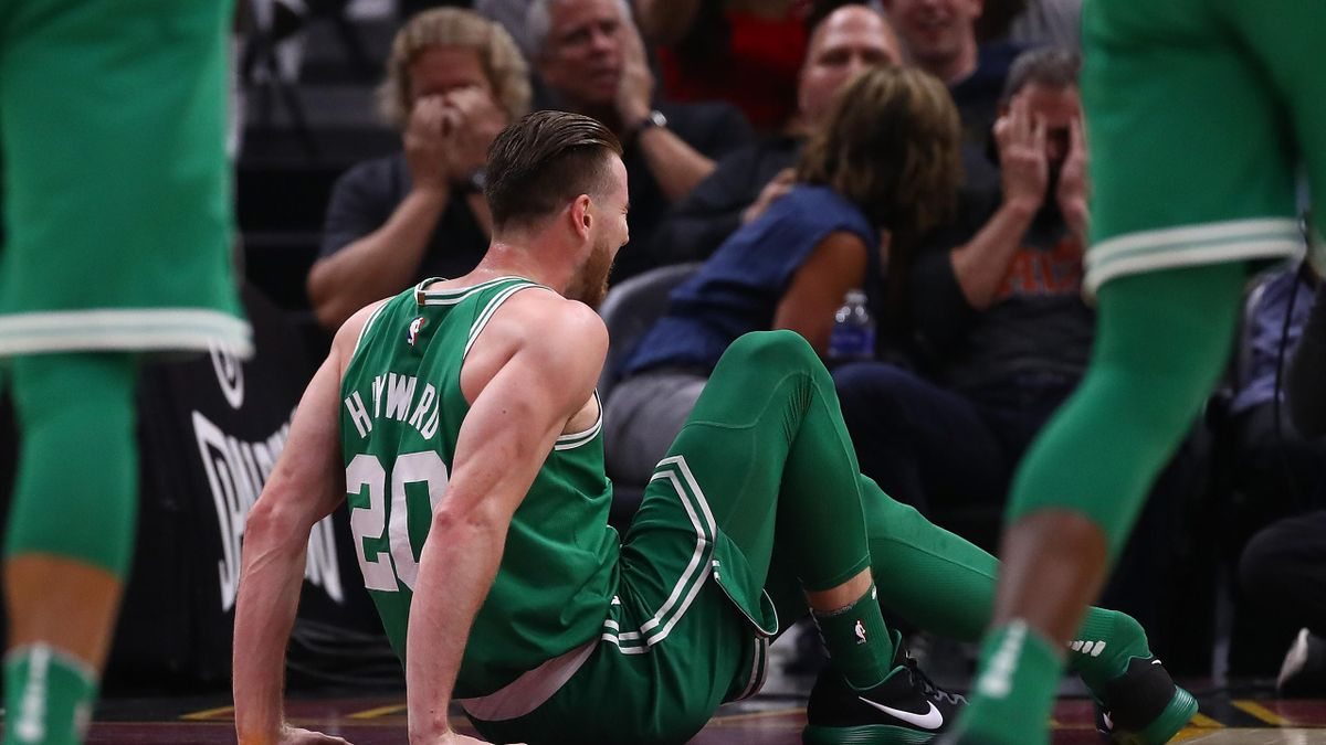 Gordon Hayward #20 of the Boston Celtics is sits on the floor after being injured while playing the Cleveland Cavaliers at Quicken Loans Arena on October 17, 2017 in Cleveland, Ohio.