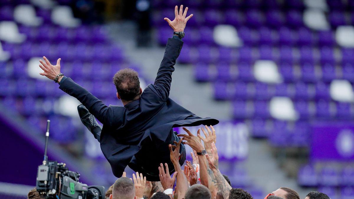 coach Diego Simeone of Atletico Madrid celebrates the championship during the La Liga Santander match between Real Valladolid v Atletico Madrid at the Estadio Nuevo Jose Zorrilla on May 22, 2021 in Valladolid Spain