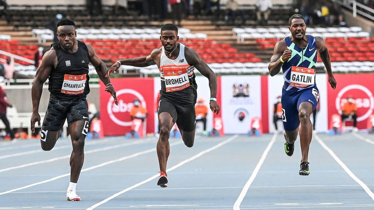 Ferdinand Omanyala, Trayvon Bromell et Justin Gatlin, lors d'un 100m supersonique, le samedi 18 septembre 2021 à Nairobi (Kenya)