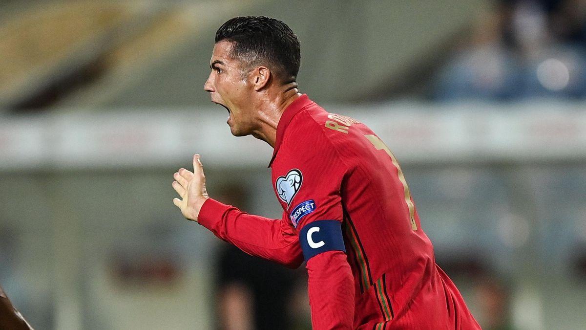 Cristiano Ronaldo celebrates scoring against Republic of Ireland