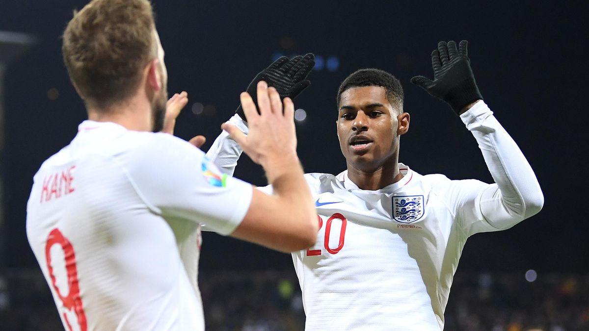Marcus Rashford of England celebrates his sides second goal with goalscorer Harry Kane during the UEFA Euro 2020 Qualifier between Kosovo and England