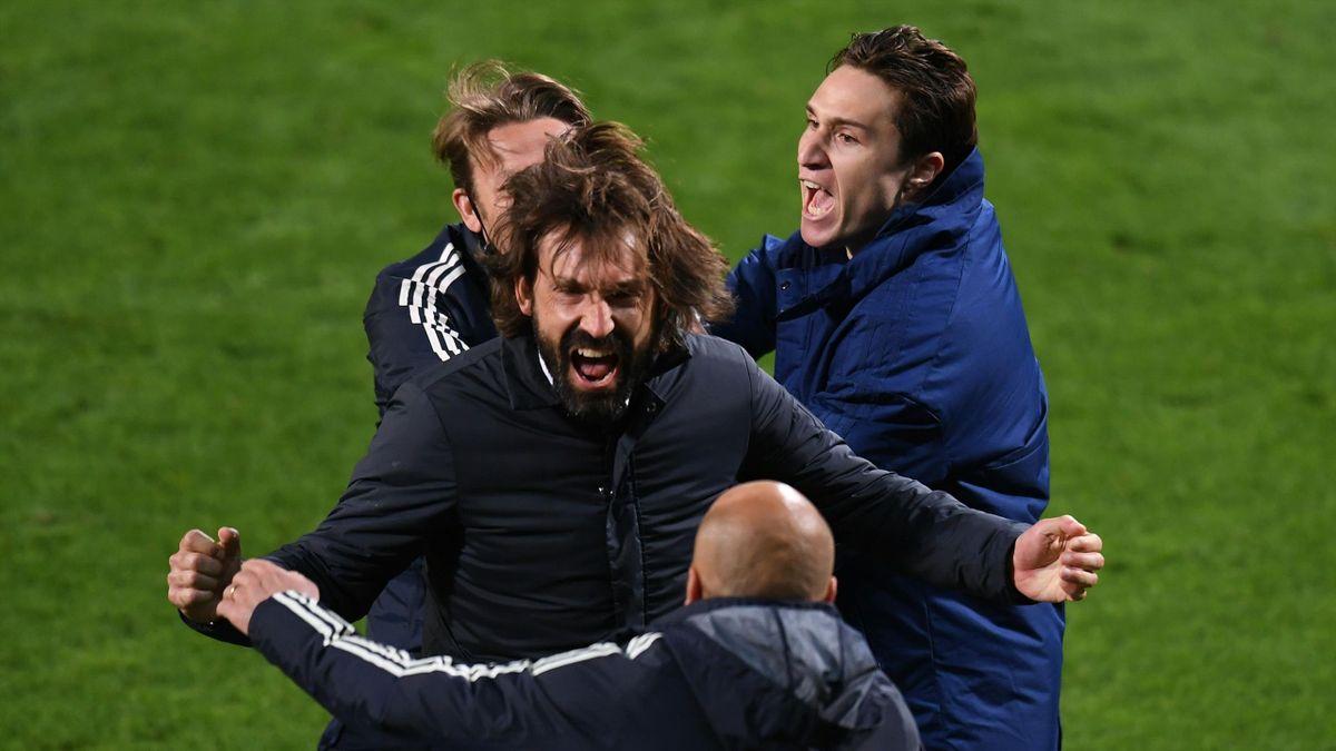 Andrea Pirlo esulta per il successo in Coppa Italia: 2° trofeo da allenatore all'esordio, Atalanta-Juventus, Getty Images