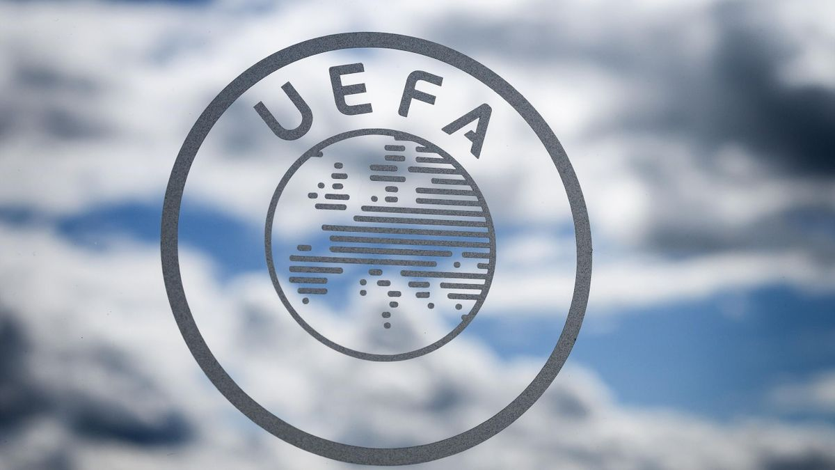 The UEFA logo is seen during the draw for the semi-finals round of the UEFA Champions League football tournament at the UEFA headquarters in Nyon on April 13, 2018