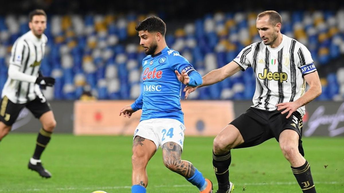 Lorenzo Insigne e Giorgio Chiellini - Napoli-Juventus Serie A 2020-21