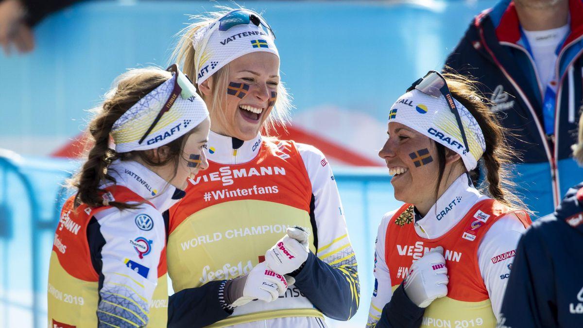 Charlotte Kalla (t.h), Frida Karlsson og Ebba Andersson