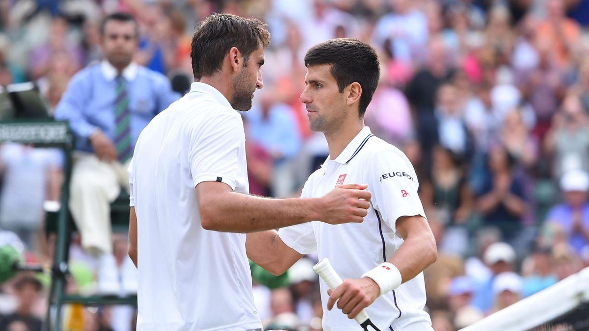 Marin Cilic face à Novak Djokovic à Wimbledon 2014