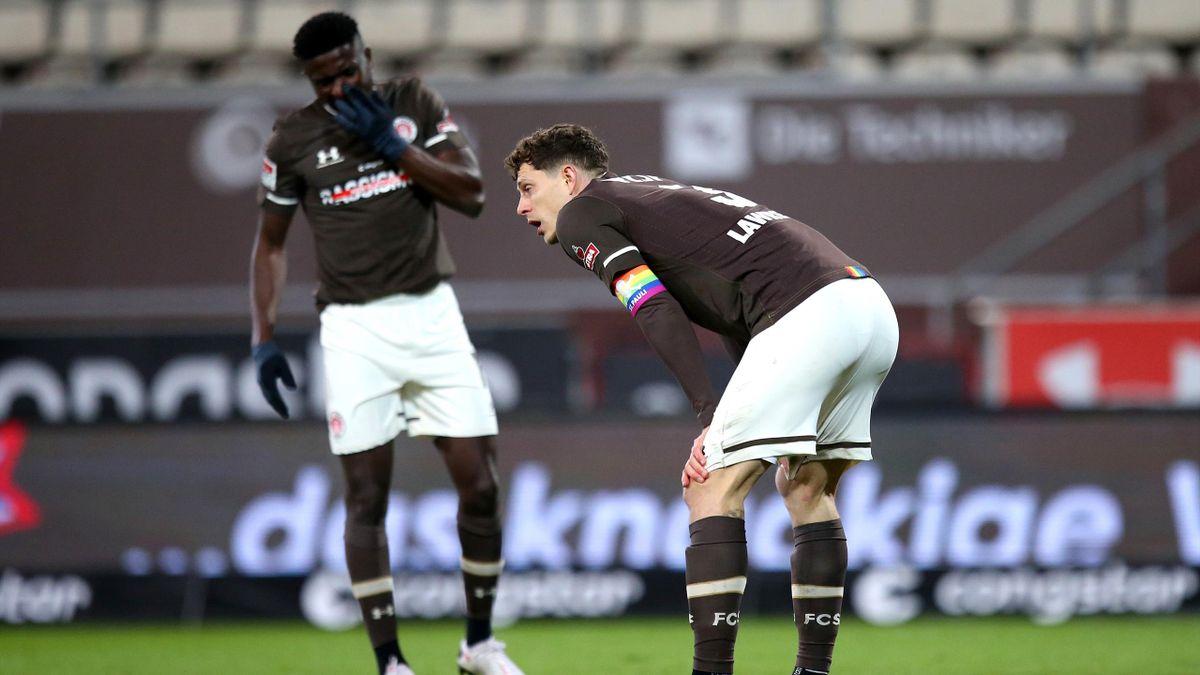 James Lawrence vom FC St. Pauli nach der Niederlage gegen den SC Paderborn
