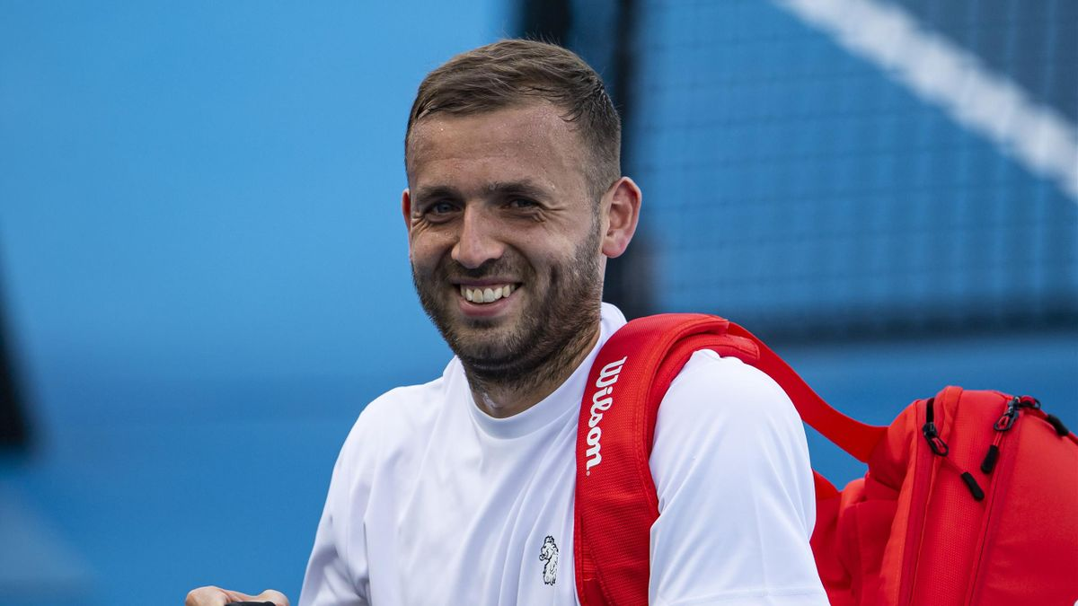 Daniel Evans of Great Britain interacts with his team after beatingJeremy Chardy of France during day six of the ATP 250 Murray River Open at Melbourne Park