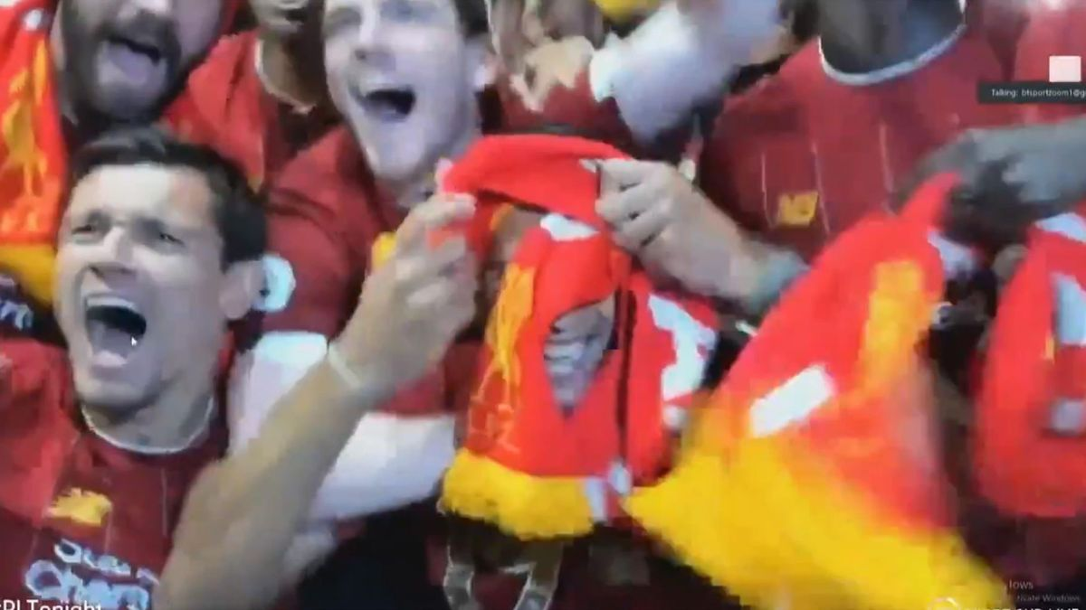 Liverpool fans celebrate on BT