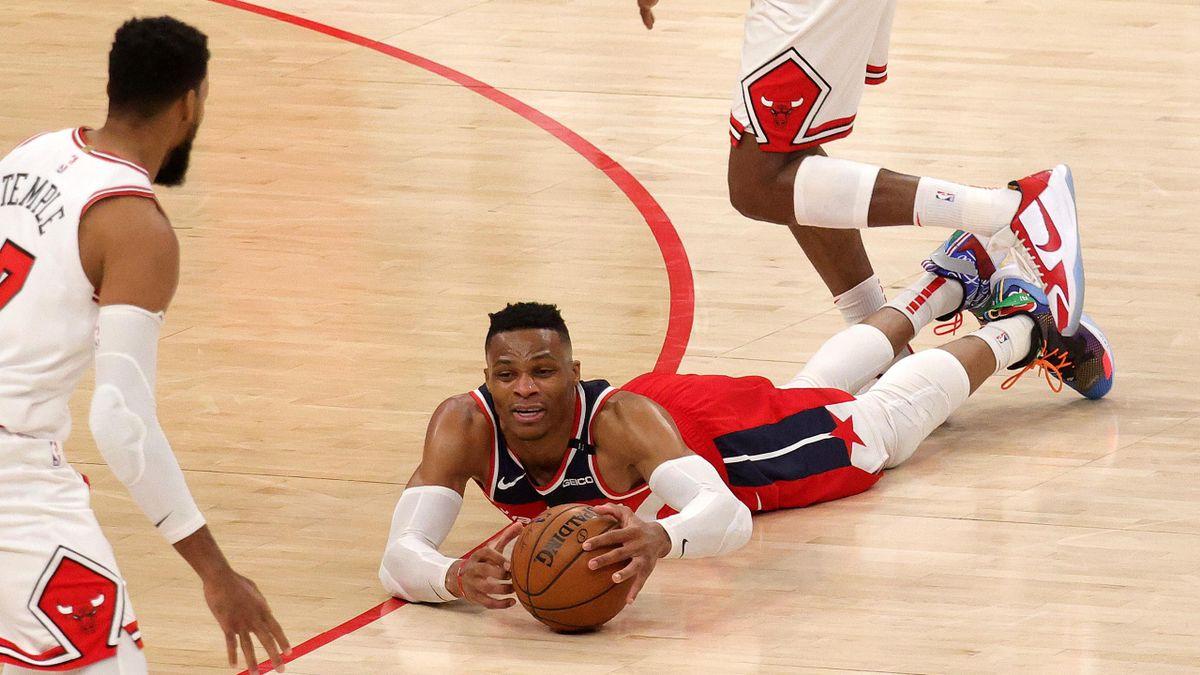 Russell Westbrook contro i Chicago Bulls ha chiuso la quarta partita consecutiva con almeno una tripla doppia ma i suoi Wizards hanno perso la 5^ partita di fila, Getty Images