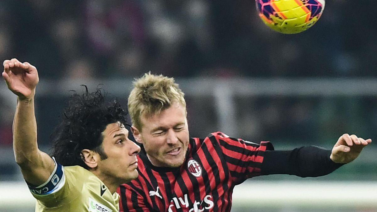 Simon Kjaer, Sergio Floccari, Milan-SPAL, Getty Images