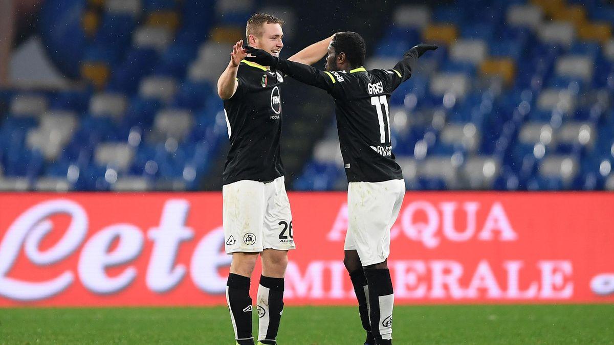 Tommaso Pobega esulta insieme a Emmanuel Gyasi, Napoli-Spezia, Serie A 2020-2021, Getty Images