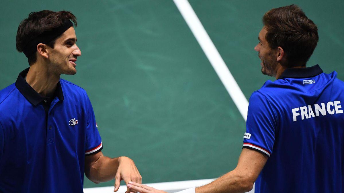 Nicolas Mahut et Pierre-Hugues Herbert lors du double de France - Japon à la Coupe Davis 2019