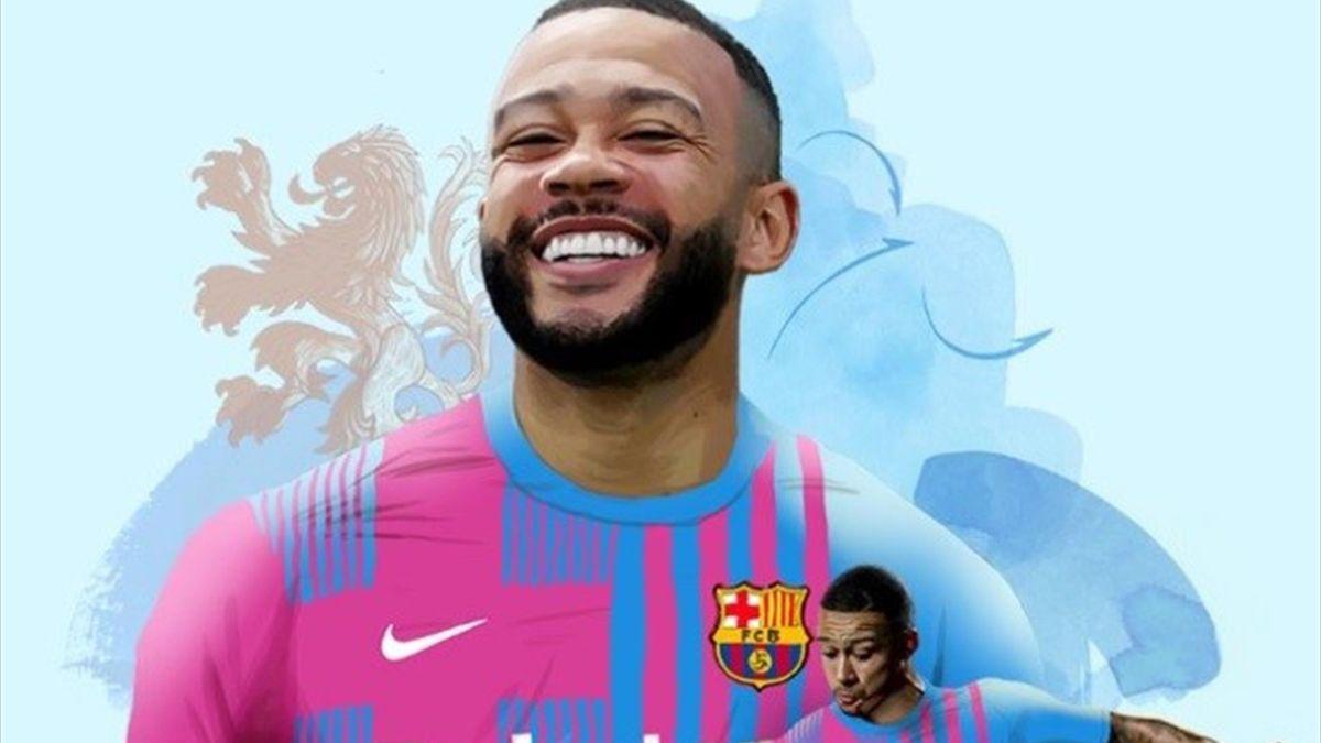 Depay al Barcellona - credit twitter @FCBarcelona