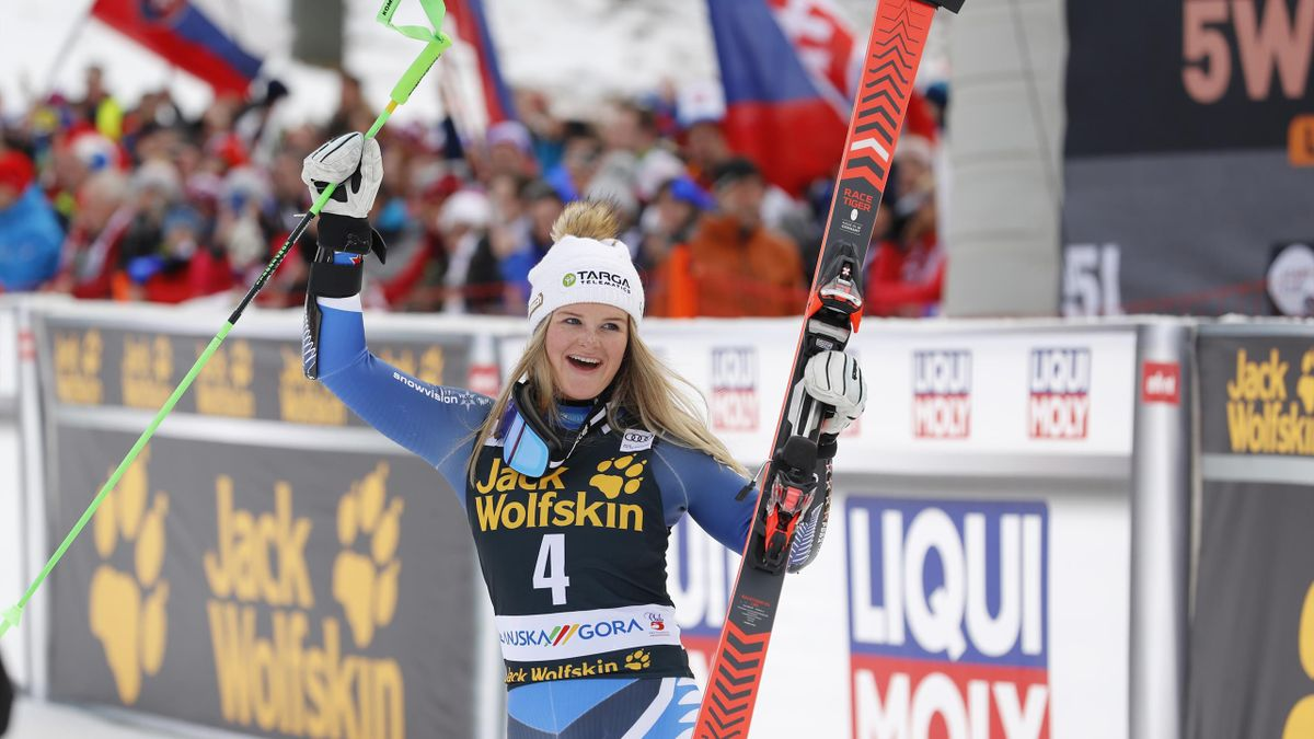 Alice Robinson of New Zealand celebrates during the Audi FIS Alpine Ski World Cup Women's Giant Slalom on February 15, 2020 in Kranjska Gora Slovenia