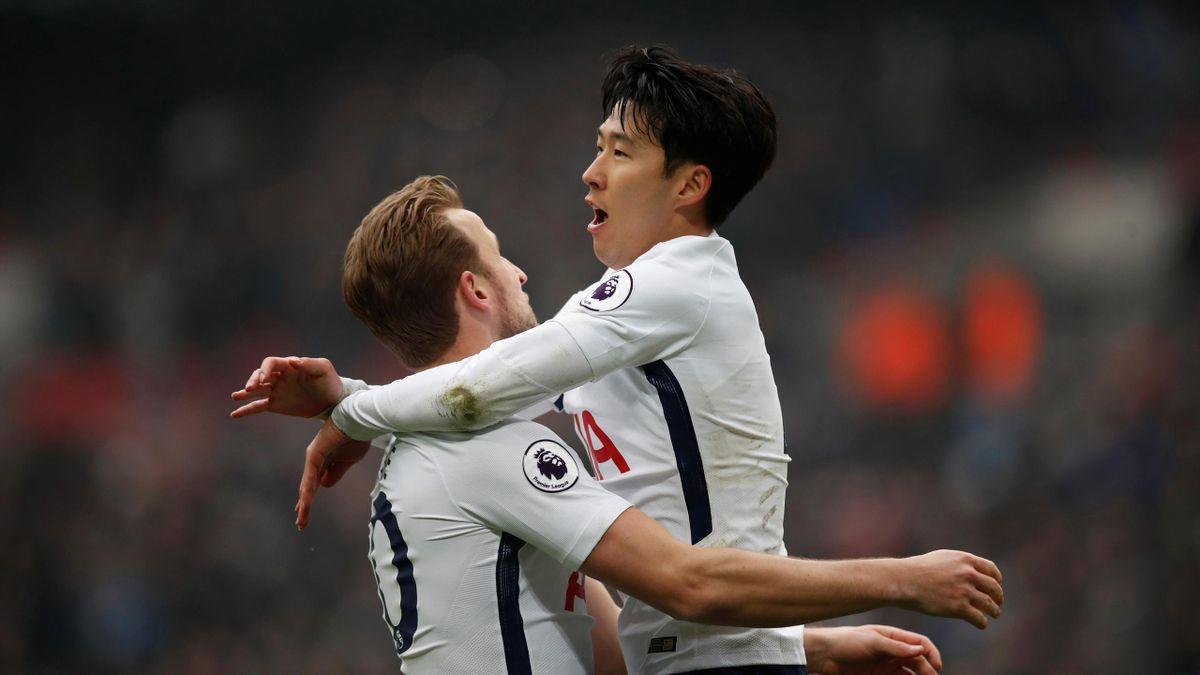 Tottenham's Son Heung-min celebrates scoring their second goal with Harry Kane