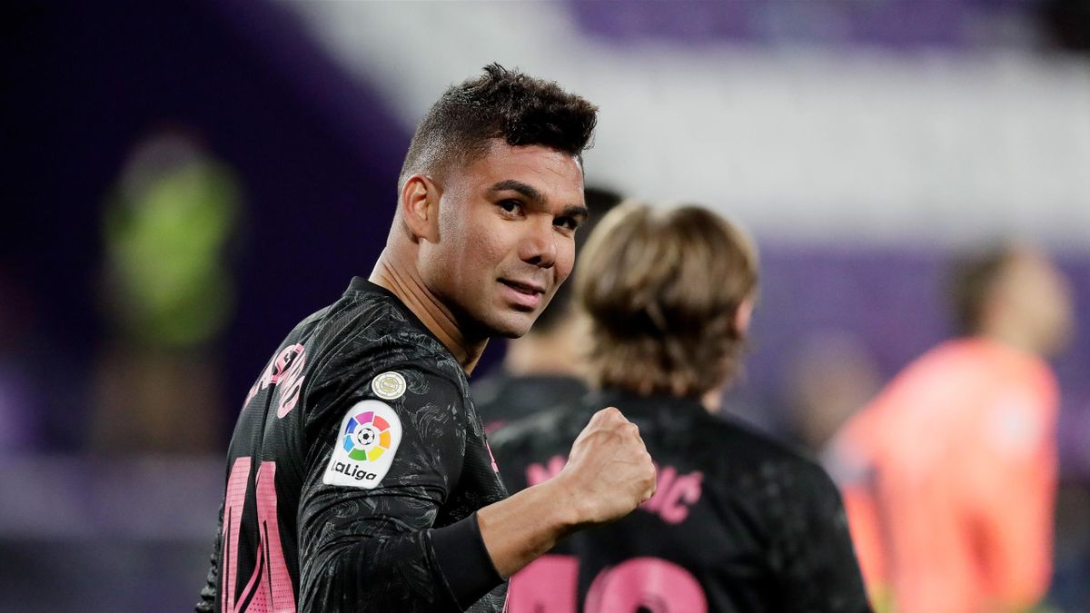 Casemiro of Real Madrid Celebrates 0-1 during the La Liga Santander match between Real Valladolid v Real Madrid at the Estadio Nuevo Jose Zorrilla on February 20, 2021 in Valladolid Spain