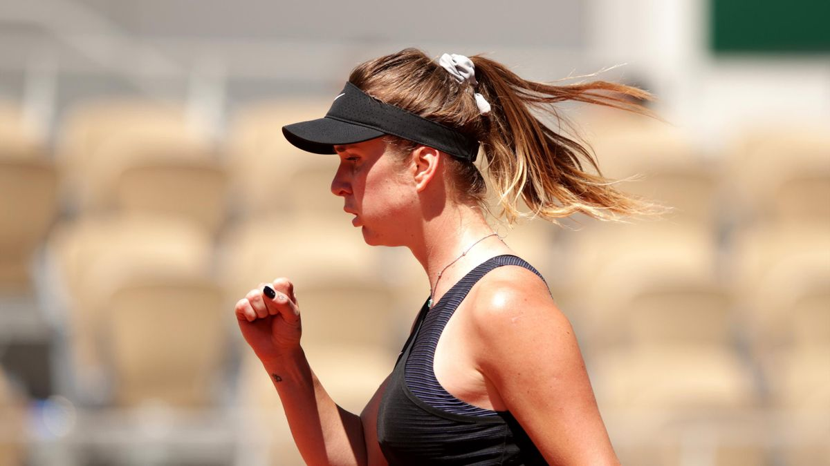 PARIS, FRANCE - JUNE 01: Elina Svitolina of Ukraine celebrates in their ladies first round match against Oceane Babel of France during day three of the 2021 French Open at Roland Garros on June 01, 2021 in Paris, France.