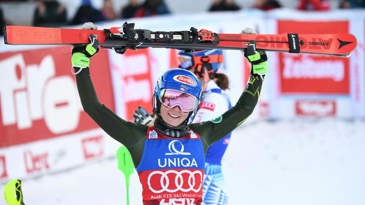 Mikaela Shiffrin of the US reacts after winning the women's Slalom event of the Alpine Skiing World Cup in Lienz, Austria, on December 29, 2019.