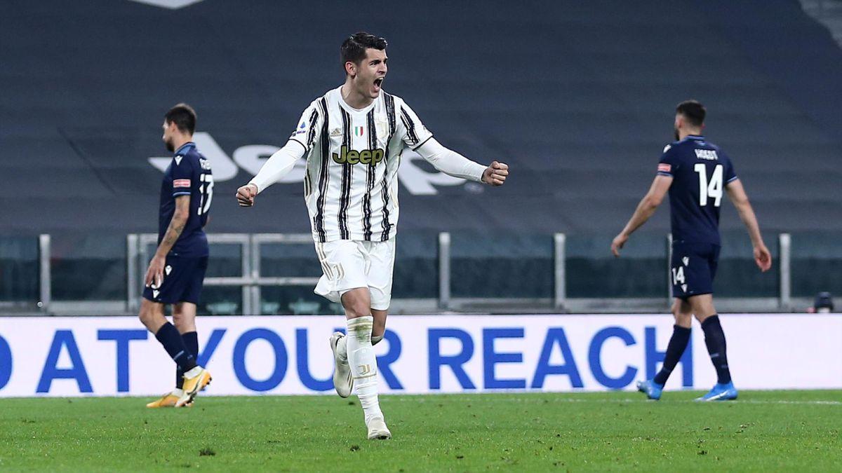 Álvaro Morata (Juventus Turin) bejubelt seinen Treffer gegen Lazio Rom