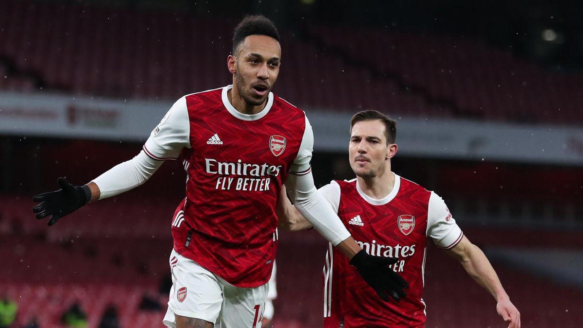 Pierre-Emerick Aubameyang (links) traf dreifach für den FC Arsenal gegen Leeds United