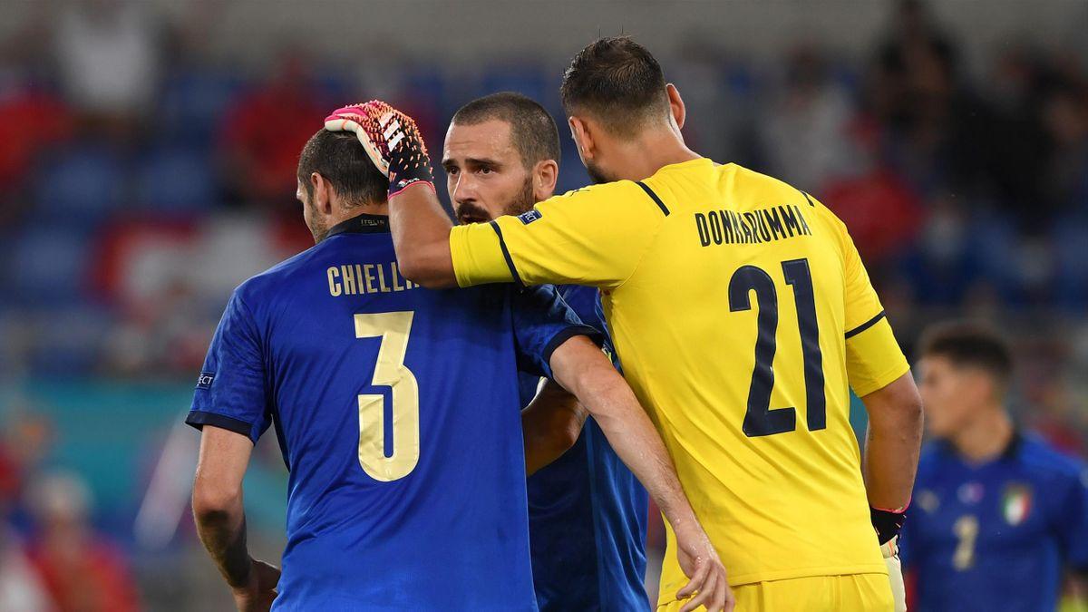 Donnarumma con Bonucci e Chiellini, Euro 2020