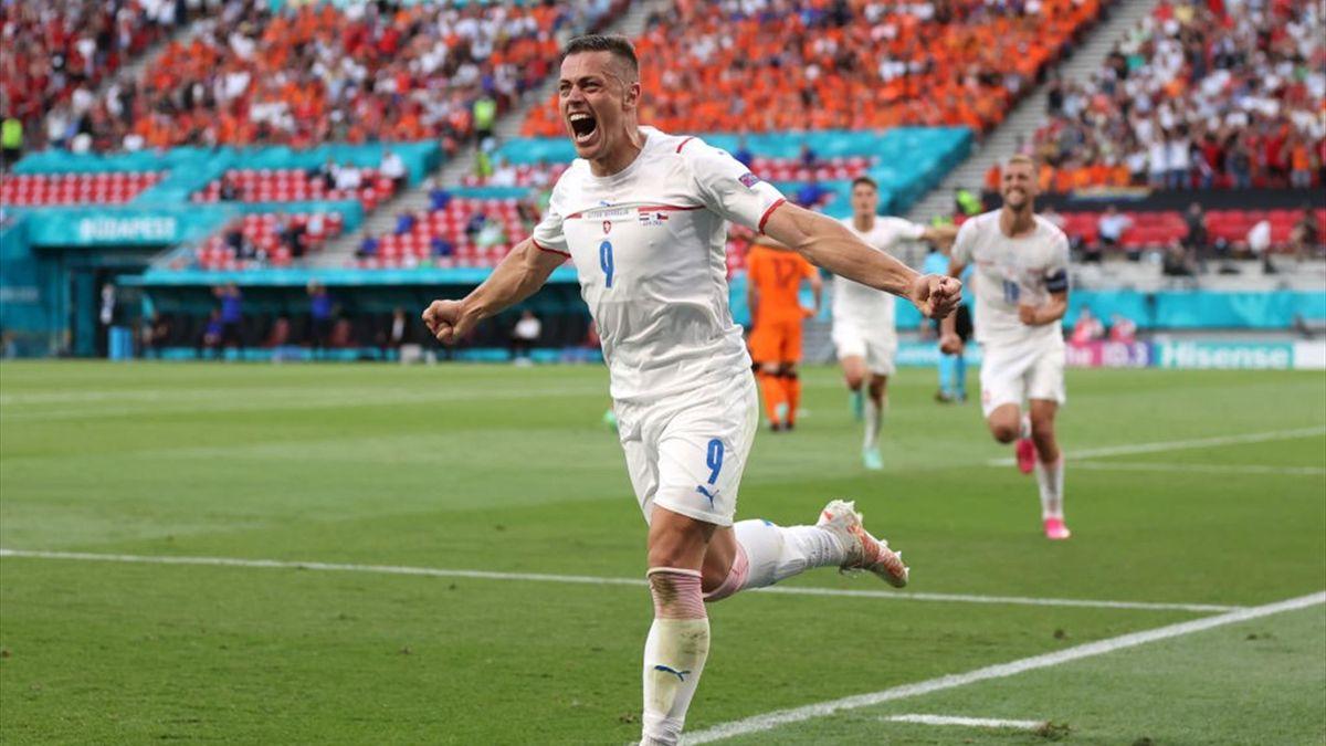 Tomas Holes esulta dopo il gol - Olanda-Repubblica Ceca Euro 2020