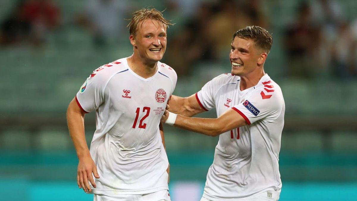 Kasper Dolberg esulta dopo il gol - Repubblica Ceca-Danimarca - Euro 2020
