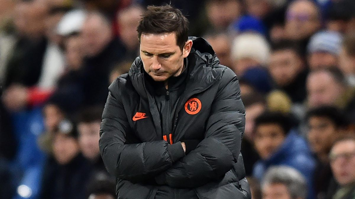 Chelsea's English head coach Frank Lampard gestures on the touchline during the UEFA Champion's League round of 16 first leg football match between Chelsea and Bayern Munich at Stamford Bridge in London on February 25, 2020.