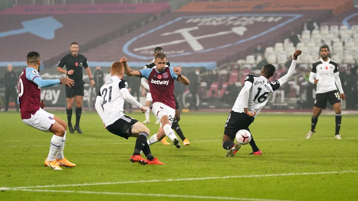 Tomas Soucek of West Ham United scores his team's first goal during the Premier League match between West Ham United and Fulham at London Stadium
