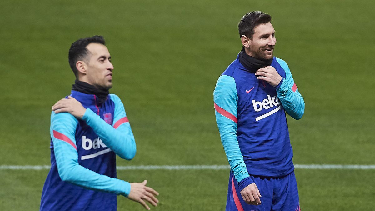 Messi and Busquets during their time at Barca