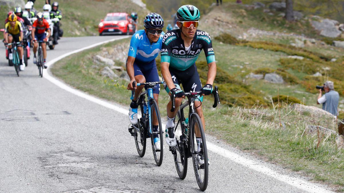 Rafal Majka and Richard Carapaz ride clear of Vincenzo Nibali and Primoz Roglic during stage 12 of the Giro d'Italia 2019