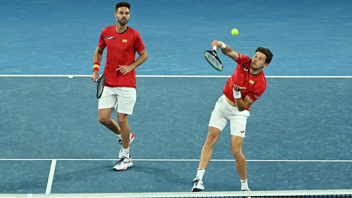 Granollers y Carreño durante el dobles en la ATP Cup