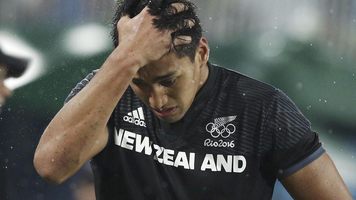 2016 Rio Olympics - Rugby - Men's Quarter-final - Fiji v New Zealand - Deodoro Stadium - Rio de Janeiro, Brazil - 10/08/2016. Rieko Ioane (NZL) of New Zealand reacts after loss to Fiji.