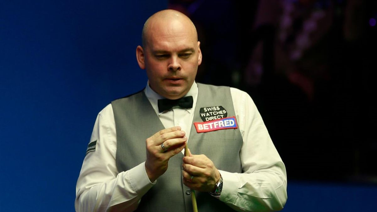 Stuart Bingham of England reacts in the second round match against John Higgins of Scotland during day eight of the 2019 Betfred World Snooker Championship at Crucible Theatre on April 27, 2019 in Sheffield, England.