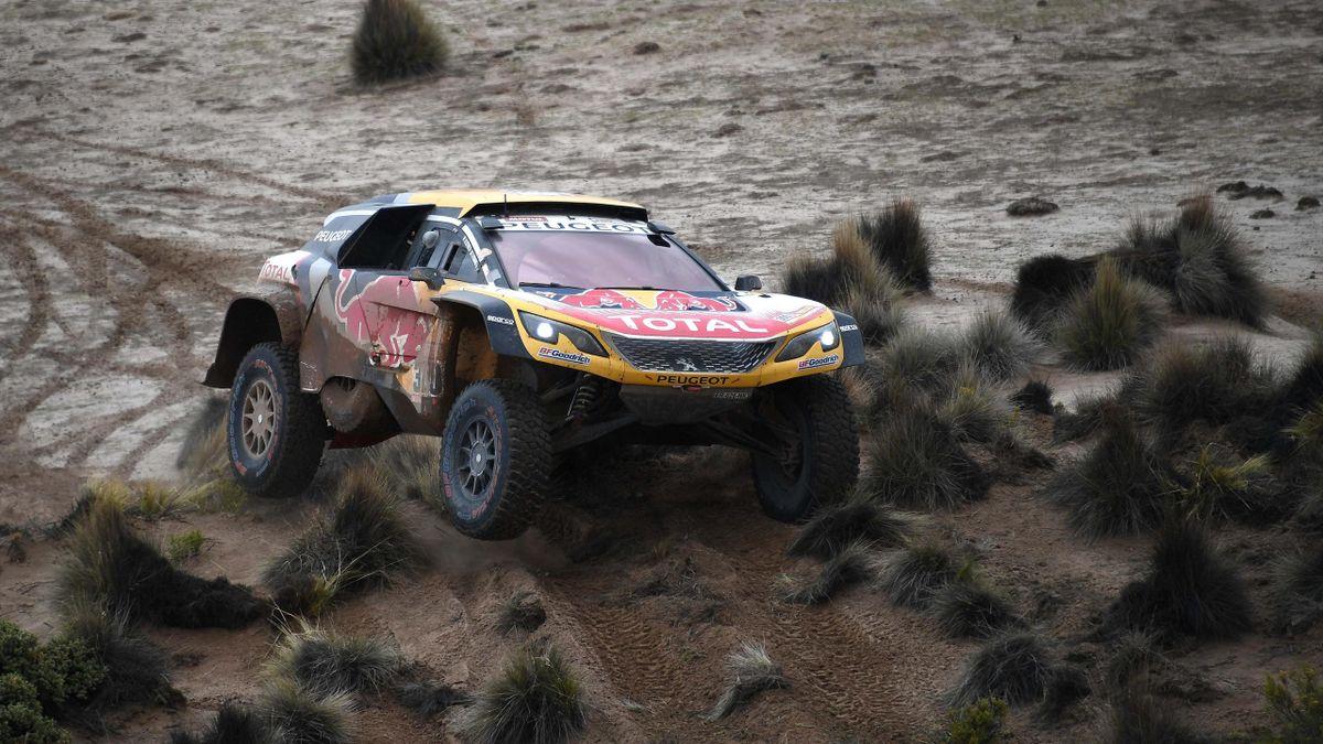 Stéphane Peterhansel (Peugeot) durant la 7e étape du Dakar 2018