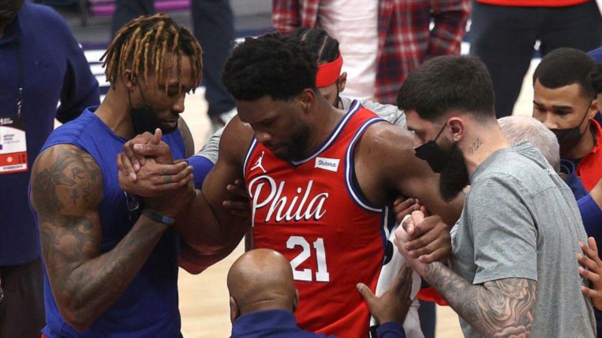 Joel Embiid blessé lors de Washington - Philadelphie en NBA le 12 mars 2021