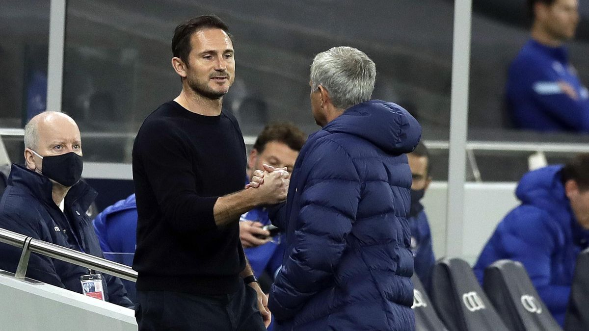 Jose Mourinho, Manager of Tottenham Hotspur greets Frank Lampard, Manager of Chelsea