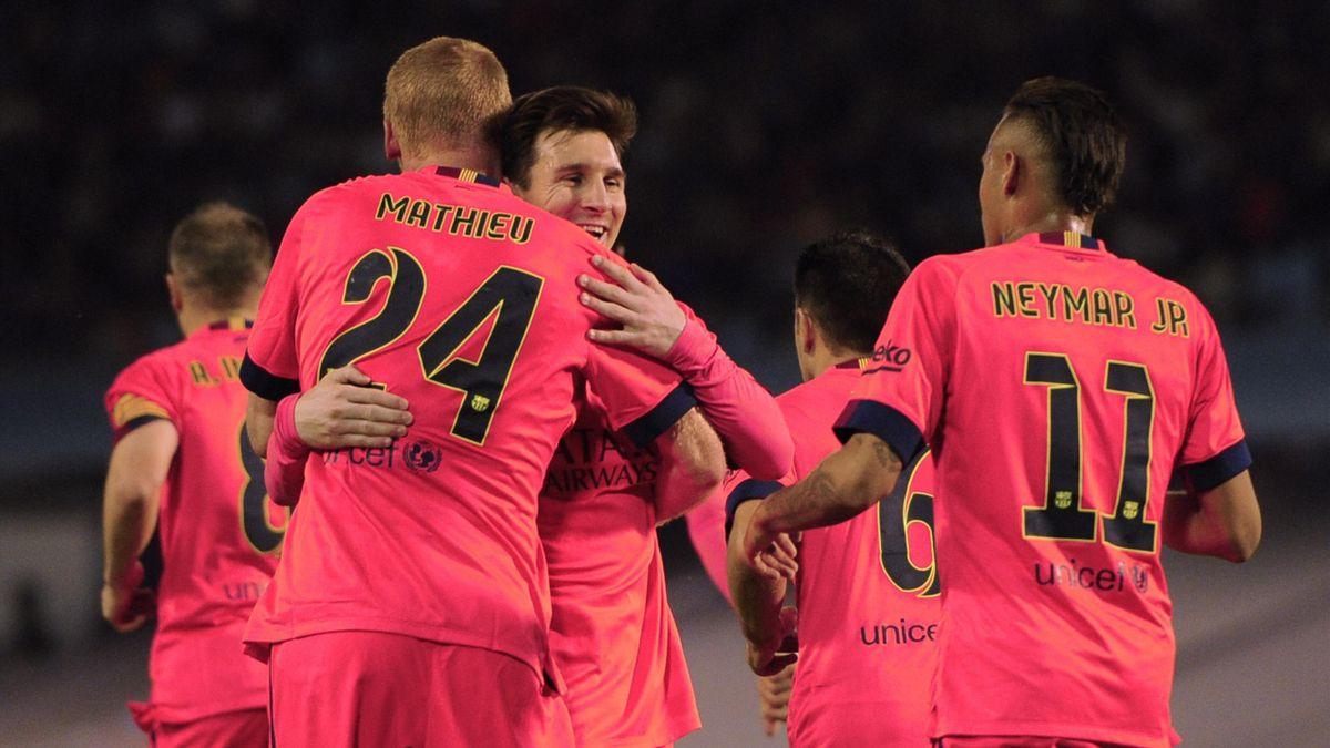 Jeremy Mathieu, Lionel Messi, Neymar - Celta de Vigo vs FC Barcelona - Liga on April 5, 2015