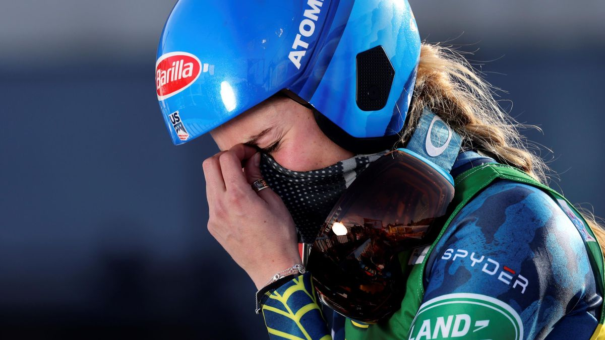 US Mikaela Shiffrin reacts in the finish area after winning the women's giant slalom event during the FIS Alpine Ski World Cup in Courchevel, French Alps