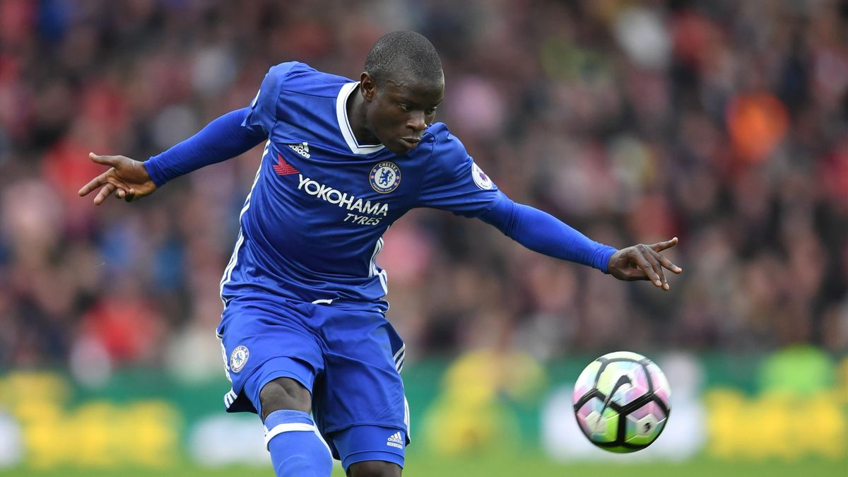 N'Golo Kante of Chelsea in action during the Premier League match between Stoke City and Chelsea