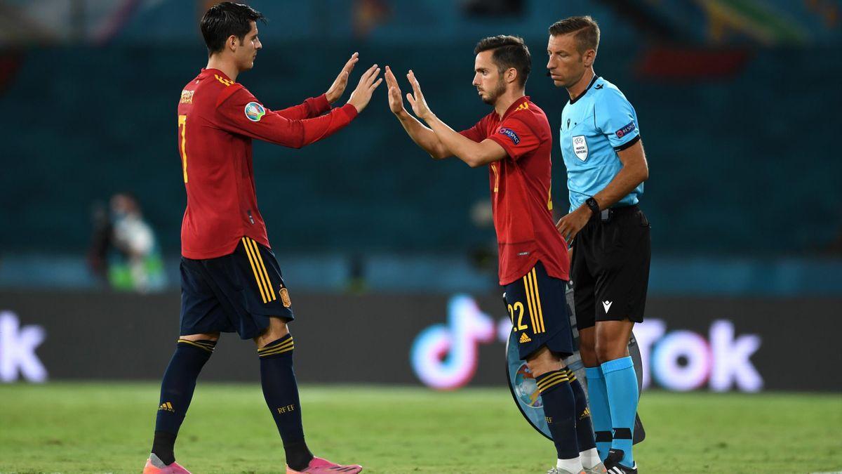 Pablo Sarabia of Spain replaces team mate Alvaro Morata during the UEFA Euro 2020 Championship Group E