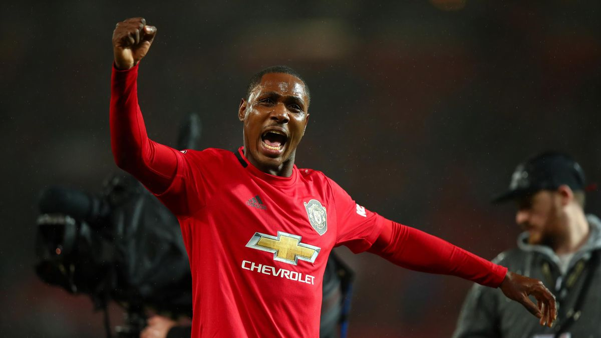 Odion Ighalo of Manchester United celebrates the 2-0 victory during the Premier League match between Manchester United and Manchester City