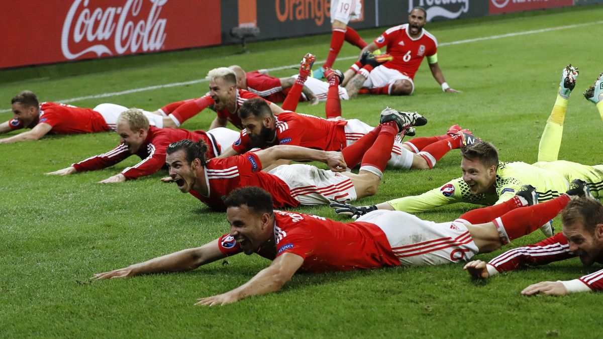 Wales celebrate with their fans