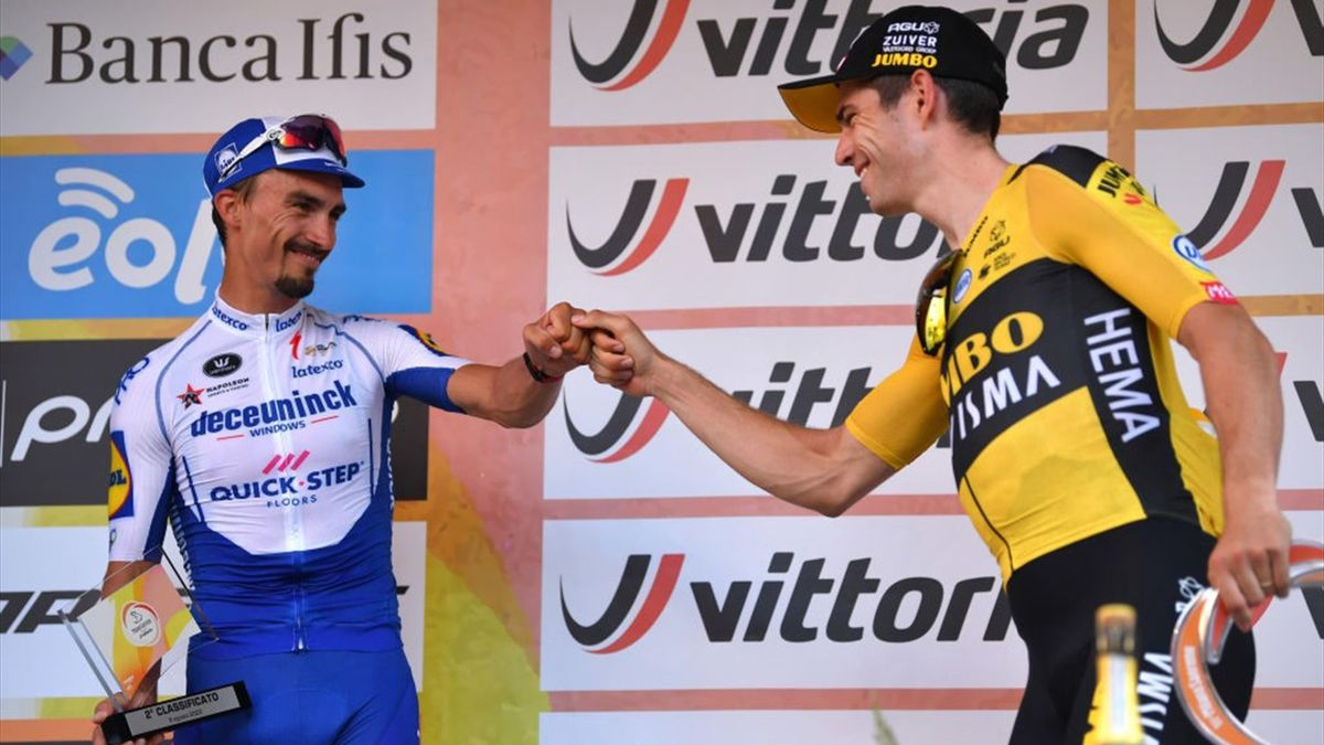 Julian Alaphilippe and Wout van Aert on the Milan-San Remo podium