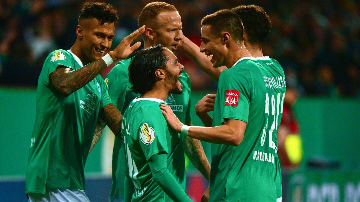 Der SV Werder Bremen jubelt über ein Tor gegen Dortmund
