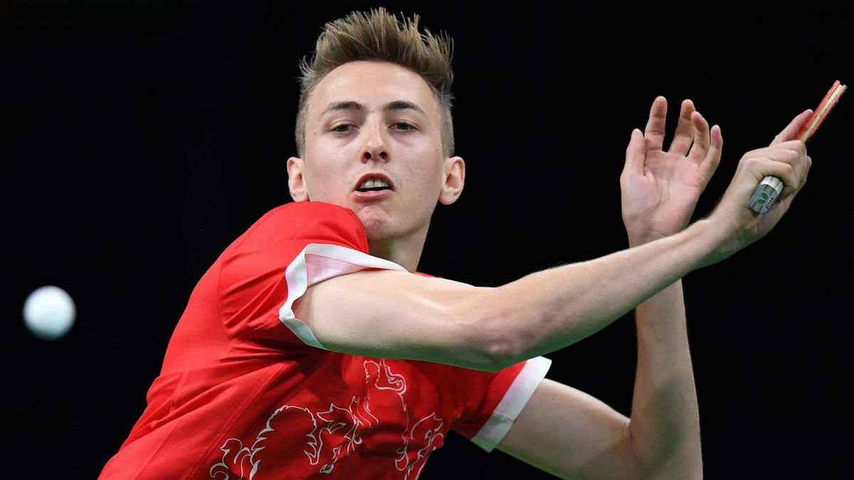 Britain's Liam Pitchford hits a shot in his men's singles qualification round table tennis matc