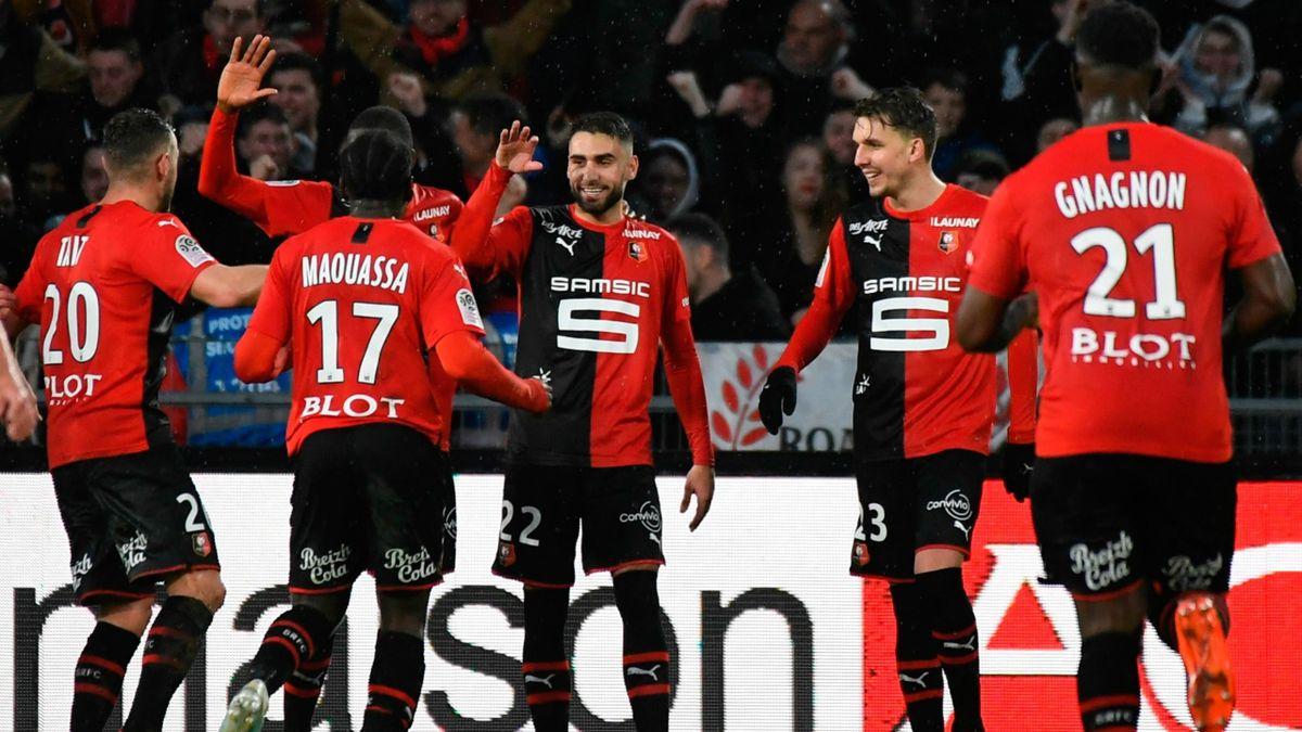 Romain Del Castillo (Rennes) célèbre son but contre Montpellier